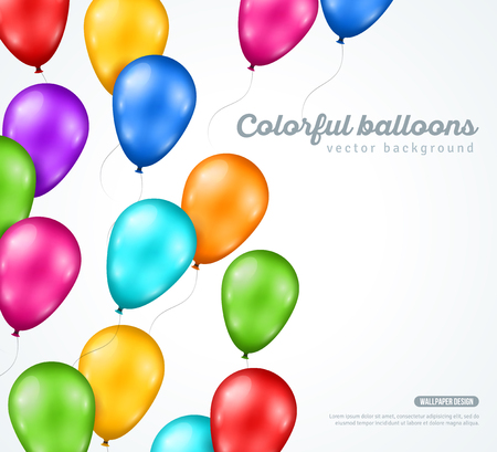 birthday backdrop: Festive Glossy Balloons on White Background. Vector illustration. Happy Birthday Backdrop. Party Invitation. Illustration
