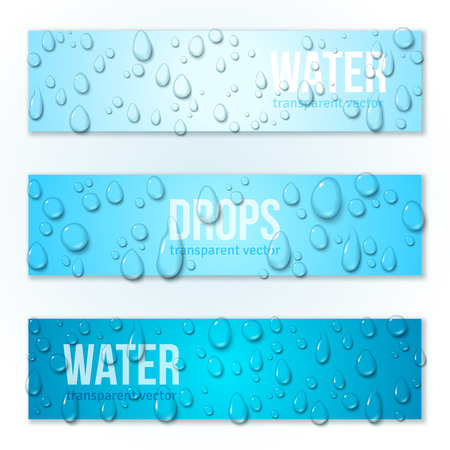 Horizontal Banners Set with Water Drops. Vector illustration. Realistic Transparent Dew on Blue Background. Clean pure aqua droplets.