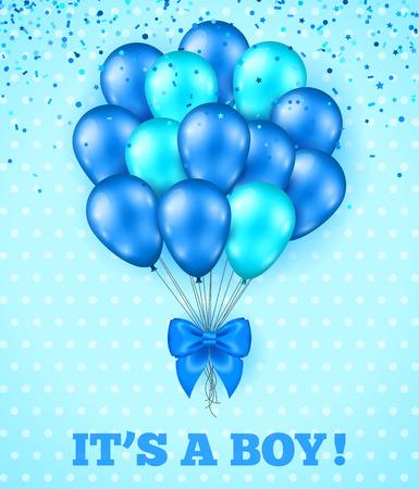 feestelijk: Het is een Jongen, Baby Shower Achtergrond. Vector illustratie. Blauwe Leuke kaart met bos van ballonnen, Bow Ribbon Groet. Stippen achtergrond, Confetti Salute. Uitnodiging van de Partij.