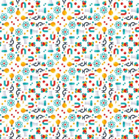 Naadloos patroon met pictogrammen voor fysica, chemie, biologie, laboratorium en wetenschappelijke apparatuur.