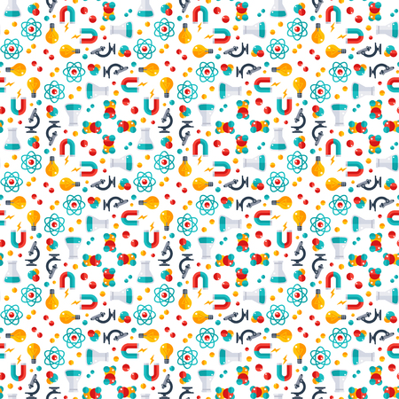 Seamless pattern with Physics, Chemistry, Biology, laboratory and science equipment Icons.