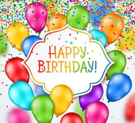 marco cumpleaños: Festivas brillantes globos multicolores con marco blanco. Ilustración del vector. Telón de fondo del feliz cumpleaños. La caída de confeti colorido, pequeñas lentejuelas saludan. Vectores