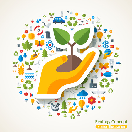 energy symbol: Hand holding sprout symbol flat sticker. Vector concept illustration with icons of ecology, environment, green energy and pollution. Save the planet. Eco Technology.