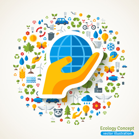 hand holding globe: Hand holding globe symbol flat sticker and ecology icons. Vector concept illustration with icons of  environment, green energy and pollution. Save the planet. Eco Technology. Illustration