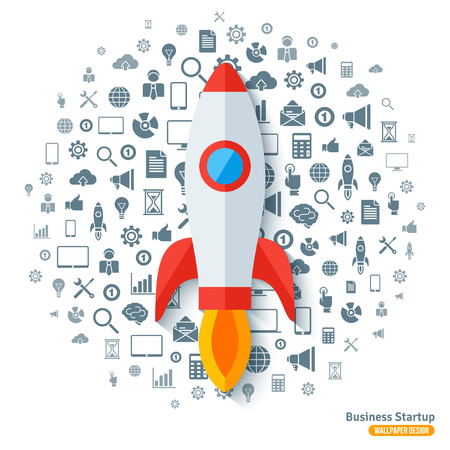 Rocket-Aufkleber mit Business Black Icons Muster. Vektor-Illustration. Startup Start Abstrakt Infografik-Konzept.