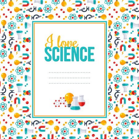 scientific research: I love science, pattern with square frame. Vector illustration. Back to school background. Physics, Chemistry, Biology, laboratory equipment flat icons. Scientific Research, Chemical Experiment.
