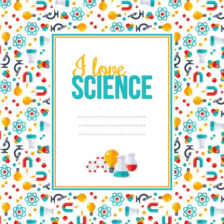 J'aime la science, modèle avec cadre carré. Vector illustration. Retour au fond de l'école. Physique, Chimie, Biologie, équipement de laboratoire icônes plates. Recherche scientifique, Expérience chimique. Banque d'images - 56492858