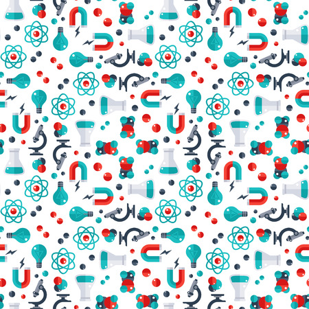 scientific research: Science seamless pattern. Vector illustration. Back to school background. Physics, Chemistry, Biology laboratory equipment flat icons. Molecules, Scientific Research, Chemical Experiment.