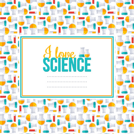 chemical experiment: I love science, pattern with square frame. Vector illustration. Back to school background.  Chemistry laboratory equipment flat icons, flask and tubes. Scientific Research, Chemical Experiment. Illustration