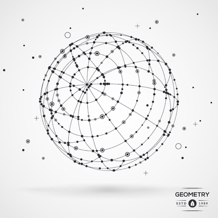 wireframe globe: Sphere wireframe mesh with connected lines and dots. Connection Structure. Geometric Modern Technology Concept. Digital Data Visualization. Globe matrix rotation. Vector illustration.