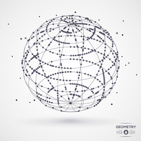 disorderly: Sphere wireframe mesh with connected lines and dots. Connection Structure. Geometric Modern Technology Concept. Digital Data Visualization. Globe matrix rotation. Vector illustration.