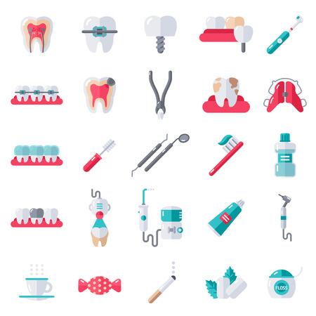 dentist drill: Dental Flat Icons Set.