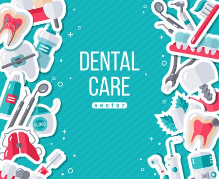 플랫 스티커 아이콘 설정으로 치과 배너. 벡터 일러스트 레이 션. 치과 개념. 건강한 깨끗한 치아. 치과 도구 및 장비. 일러스트