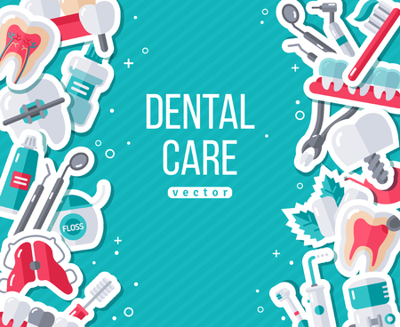 Dentistry Banner With Flat Sticker Icon Set. Vector illustration. Dental Concept. Healthy Clean Teeth. Dentist Tools and Equipment.