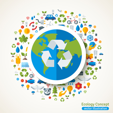 Earth with recycling symbol flat sticker. Vector concept illustration with icons of ecology, environment, green energy and pollution. Save the planet. Eco Technology.
