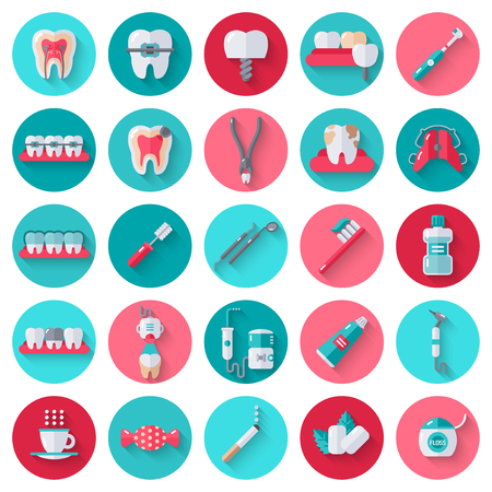 Dental Flat Icons Set in Circles. Vector Illustration for Dentistry and Orthodontics. Healthy Tooth, Transparent and Metallic Braces, Retainer, Veneers, Teeth Whitening, Cavity and Plaque Illustration
