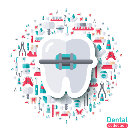 Flat Tooth in Braces Sticker Icon. Vector illustration. Teeth Care, Orthodontics and Dentistry symbols. Vettoriali