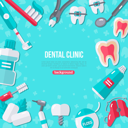 chewing gum: Dentistry Banner With Flat Icons on Blue Background. Vector illustration. Dental Concept Frame. Healthy Clean Teeth. Dentist Tools and Equipment.