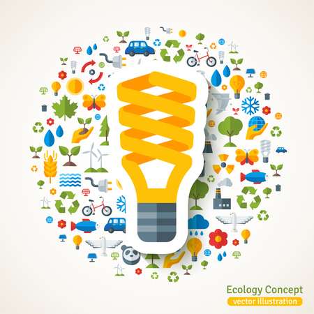Energiebesparende gele gloeilamp symbool platte sticker. Vector concept illustratie met iconen van ecologie, milieu, groene energie en vervuiling. Red de planeet. Ecotechnologie.