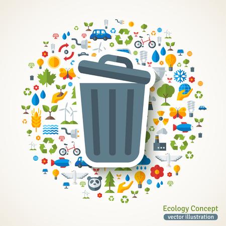 Cestino simbolo sticker piatta. Illustrazione vettoriale concetto con le icone di ecologia, ambiente, energia verde e l'inquinamento. Salva il pianeta. Tecnologia Eco.