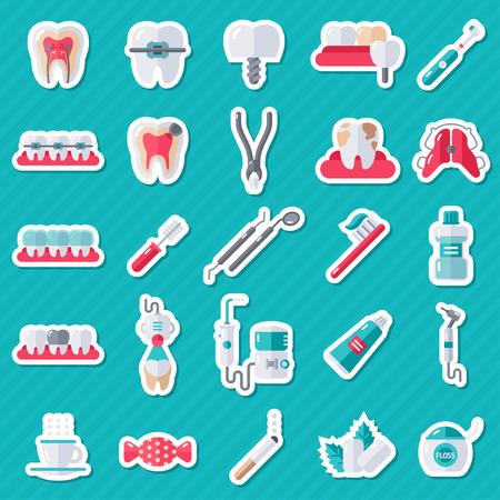 Dental Flat Sticker Icons Set. Illustratie voor Tandheelkunde en Orthodontie. Stomatologie apparatuur, tandarts gereedschap, tandenborstel en tandpasta, tanden schoonmaken, Implantaten