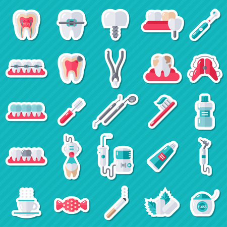 stomatology: Dental Flat Sticker Icons Set. Illustration for Dentistry and Orthodontics. Stomatology Equipment, Dentist Tools, Toothbrush and Toothpaste, Teeth Cleaning, Implants