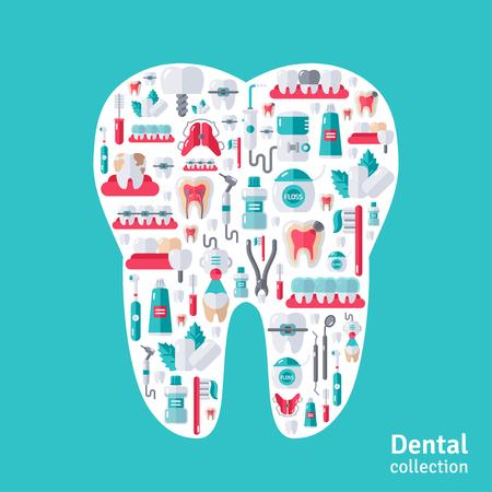 Tand met tandheelkundige iconen binnen. Tanden Care, Orthodontie en Tandheelkunde symbolen. Vector Illustratie
