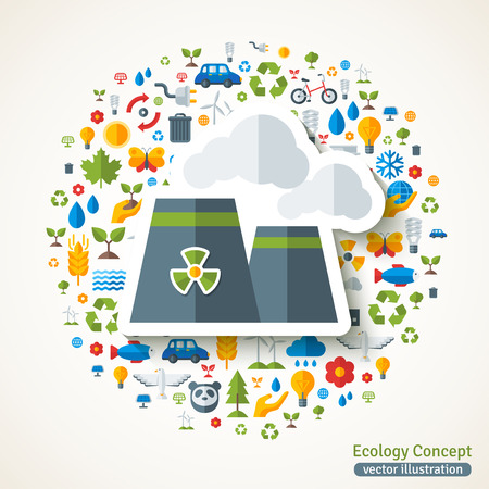 green environment: Nuclear power plant symbol flat sticker. concept illustration with icons of ecology, environment, green energy and pollution. Save the planet. Eco Technology.