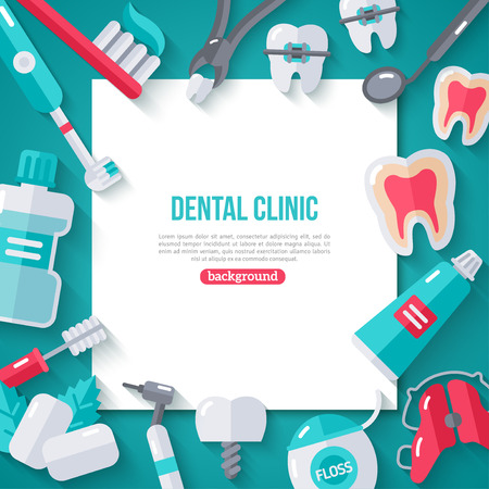 Dentistry Banner With Flat Icons. Dental Concept Frame. Healthy Clean Teeth. Dentist Tools and Equipment.