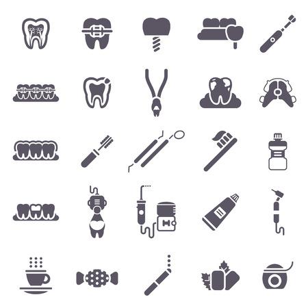 malos habitos: Conjunto de iconos negros dentales aislados en blanco. Ilustración del vector para Odontología y Ortodoncia. Diente sano, transparente y metálico de los apoyos, el retén, los malos hábitos - Fumar, té y café, caramelo