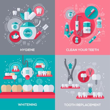フラット アイコンと歯科バナー セット。衛生、歯、歯のホワイトニング、歯科インプラント、抽出洗浄します。