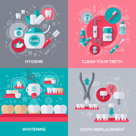 Dentistry Banners Set With Flat Icons. Hygiene, Cleaning Teeth, Tooth Whitening, Dental Implants and Extraction.