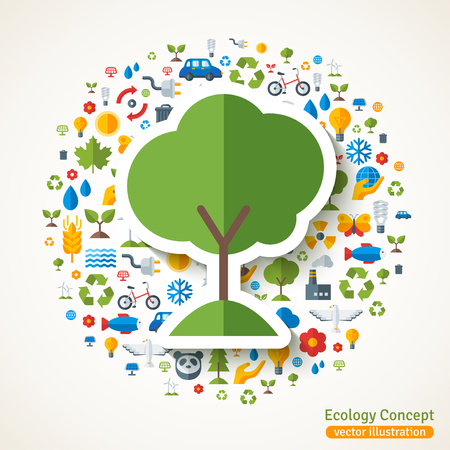 energy symbol: Tree symbol flat sticker. concept illustration with icons of ecology, environment, green energy and pollution. Save the planet. Eco Technology.
