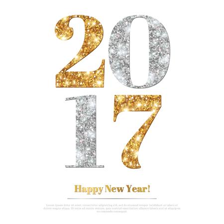 Tarjeta 2017 de felicitación feliz año nuevo con oro y plata números. Feliz Navidad de diseño, Cubierta del folleto, cartel. Ilustración de vector