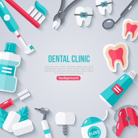 floss: Dentistry Banner With Flat Icons. Dental Concept Frame. Healthy Clean Teeth. Dentist Tools and Equipment.