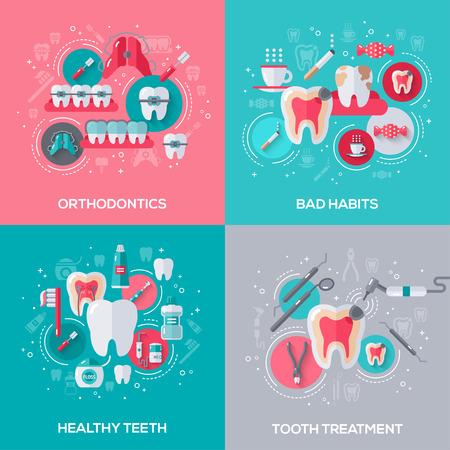 malos habitos: Banderas de Odontología Set con los iconos planos. Conceptos dentales. Dientes limpios saludable. El tratamiento dental. Ortodoncia. Malos hábitos