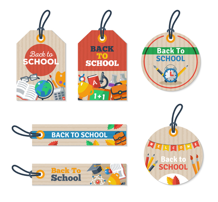 paper tags: Set of Back to school tags on craft textured paper. Arts and Science Education Flat icons.