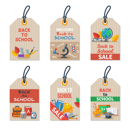 paper tags: Set of Back to school tags on craft paper. Arts and Science Education Flat icons.
