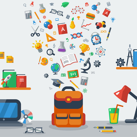 collecting: Back To School Education Concept. Child backpack collecting school flat icons. Pupil workplace