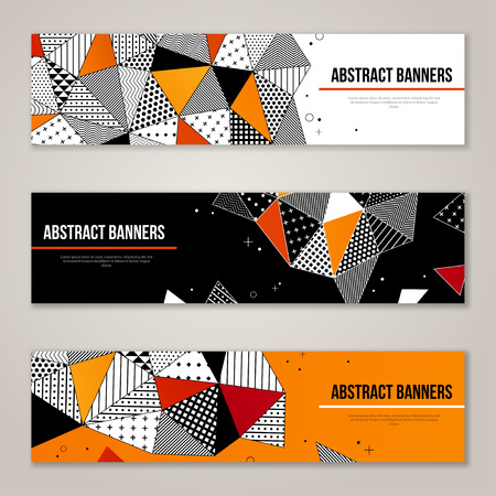 contrast: Abstract modern geometric banners set in orange and black colors. Triangle hipster pattern. Illustration