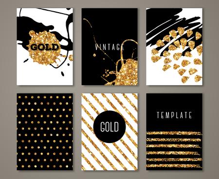 브러시 스트로크 골드 디자인 요소와 브로셔의 설정. 황금 페인트 얼룩이나 물방울 무늬 현대 인사말 카드입니다. 삽화. 일러스트