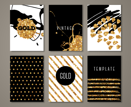 stripe pattern: Set of brochures with  brush stroke gold design elements. Modern greeting card with golden paint stains and polka dots. Illustration. Illustration