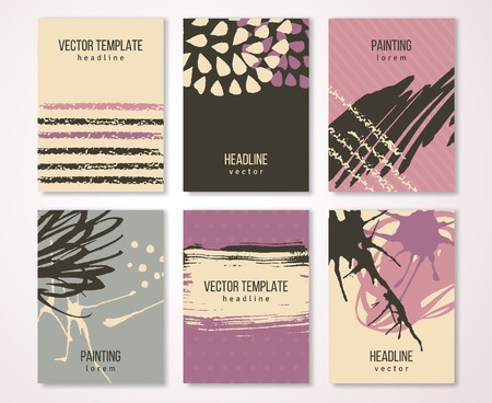 tints: Brochure template design set with pastel strokes and colorful acrylic paint drips. illustration. Grunge vintage cards, retro style poster . Brown, violet, pink and cream tints. Illustration