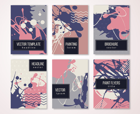 paint drips: Brochure template design set with pastel strokes and colorful acrylic paint drips. illustration. Grunge vintage cards, retro style poster