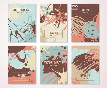 vintage patterns: Splatter paint set, creative vintage card design. Brush strokes and drops.