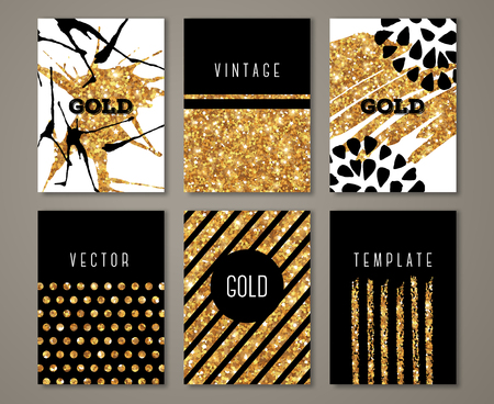 Brochure template design set with brush stroke and geometric elements. illustration. Grunge vintage cards with golden paint, retro style poster. Polka dots and stripes on gold