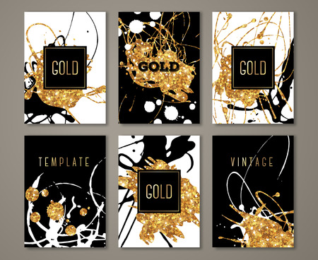 Black, white and gold painted  set, greeting card design template. Golden brush strokes with square frame. Acrylic paint drips.