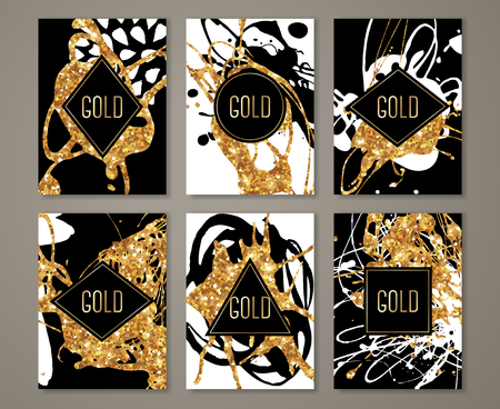 new year eve: Black and Gold Banners Set, Greeting Card Design. Golden Brush Strokes. Illustration. Painted Poster Invitation Template.