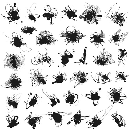 Set of splatter paint stains isolated on white. Illustration. Acrylic splash, ink spots silhouettes.