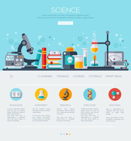 experimento: Una página de la plantilla de diseño web con iconos de la ciencia planas. Laboratorio de Ciencias, Equipos de ensayo, análisis y Educación. La investigación científica, experimento químico.